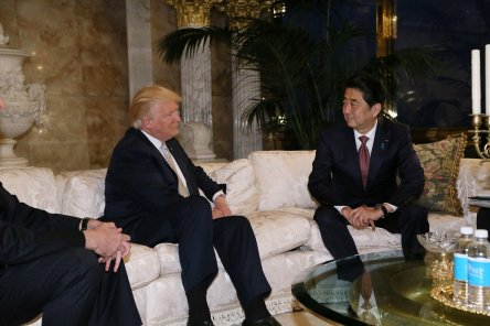 Japan's Prime Minister Shinzo Abe meets with U.S. President-elect Donald Trump at Trump Tower in Manhattan, New York