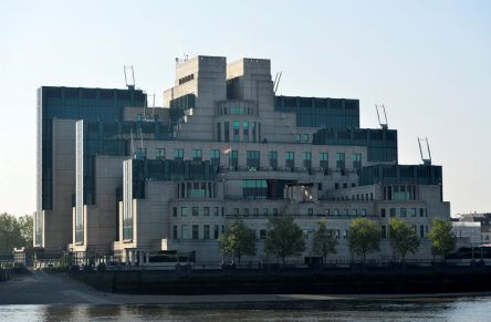 FILE PHOTO: The MI6 Vauxhall Cross building raises the Rainbow Flag to mark its support for the International Day Against Homophobia, Transphobia and Biphobia in London
